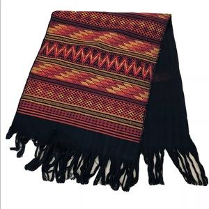 Fringed table runner or wall hanging ethnic print